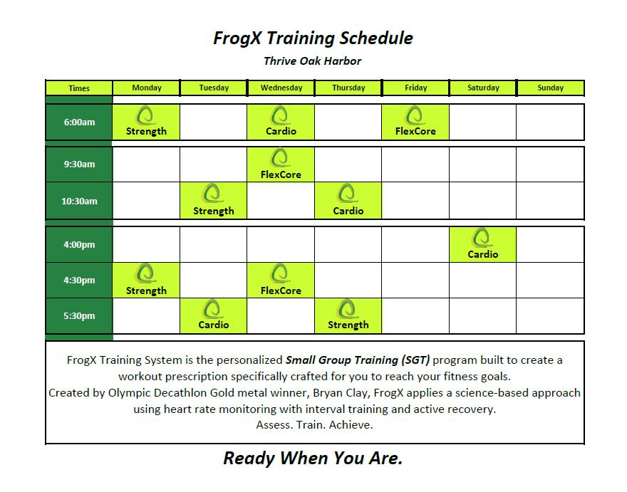 FrogX Training schedule Apr 17