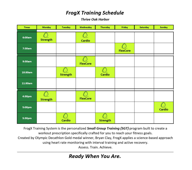 FrogX schedule sep 2016