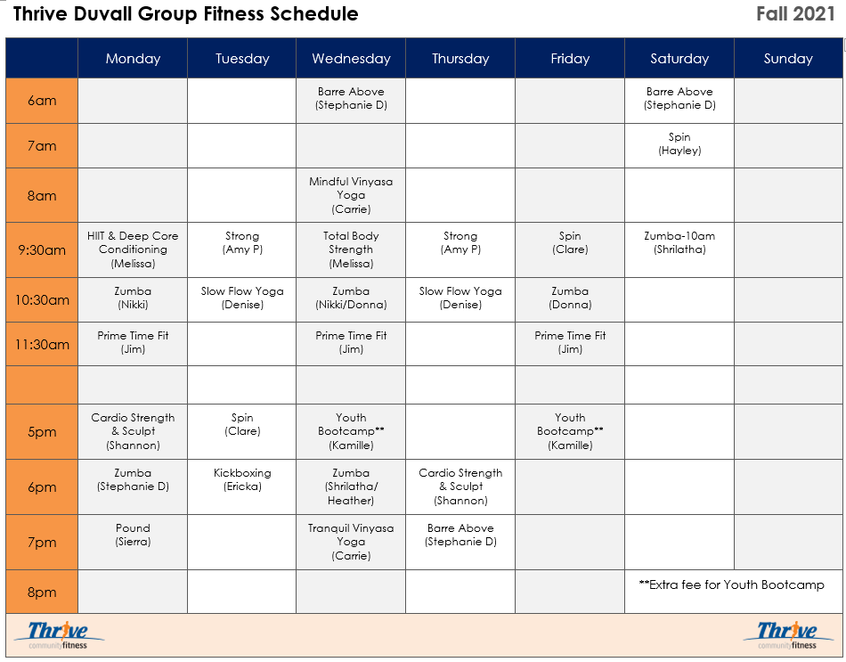 Master Schedule Fall 21